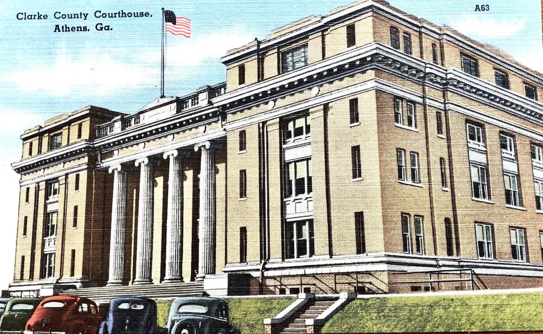 Clarke County Courthouse Athens GA Vintage Postcard