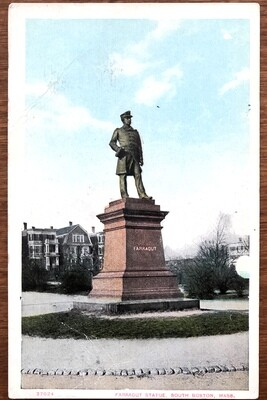 Farragut Statue South Boston Mass. Vintage Postcard