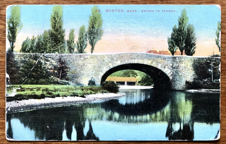 Boston Mass. Bridge in Fenway Vintage Postcard