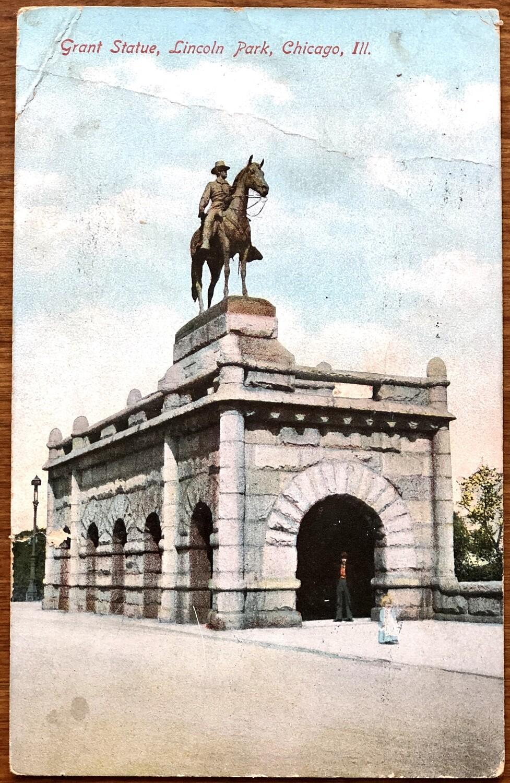 Grant Statue Lincoln Park Chicago Illinois 1908 Postcard
