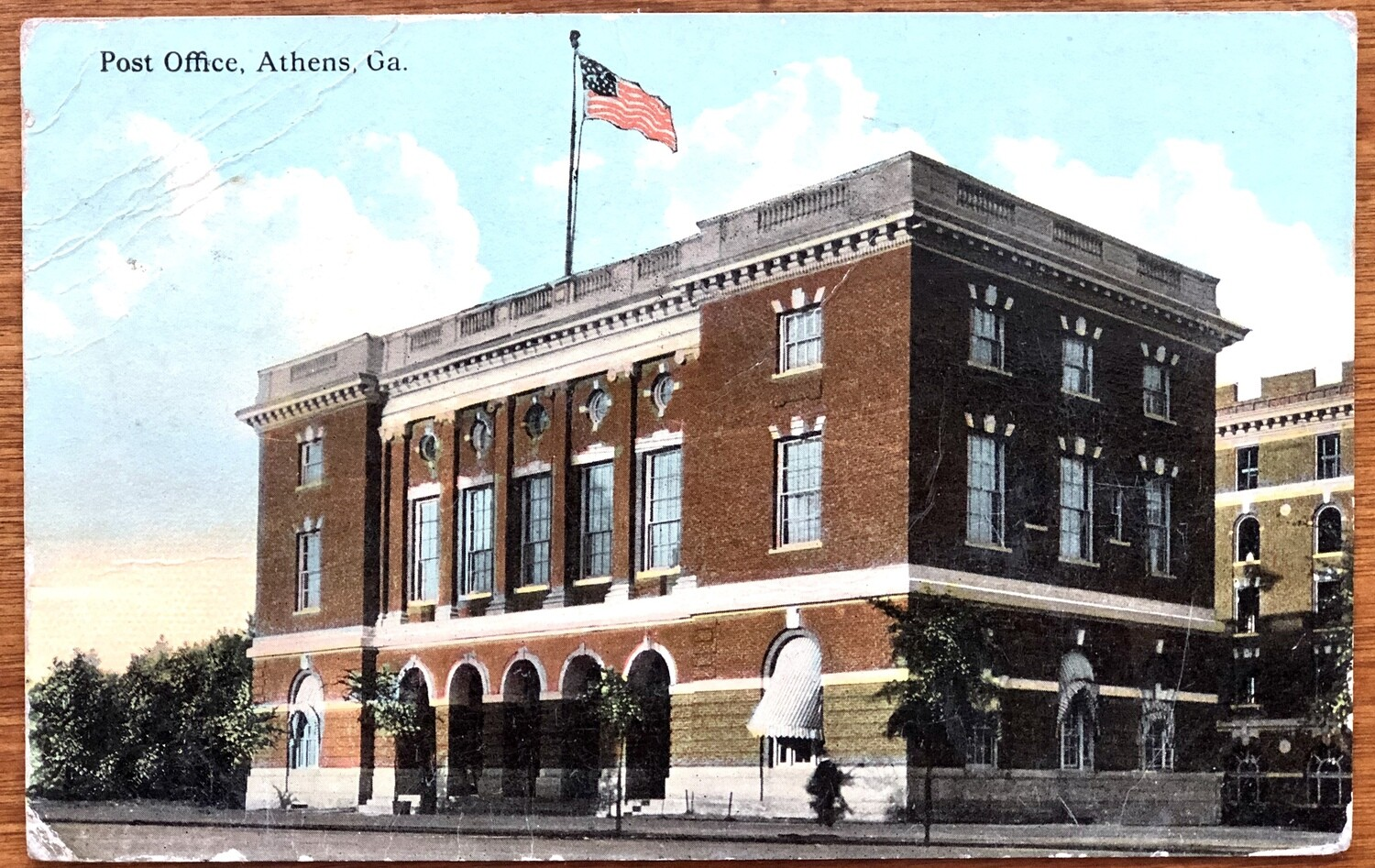 Post Office Athens GA 1912 Postcard With 1 Cent Stamp