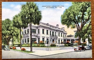 Armstrong Junior College Savannah GA Vintage Linen Postcard