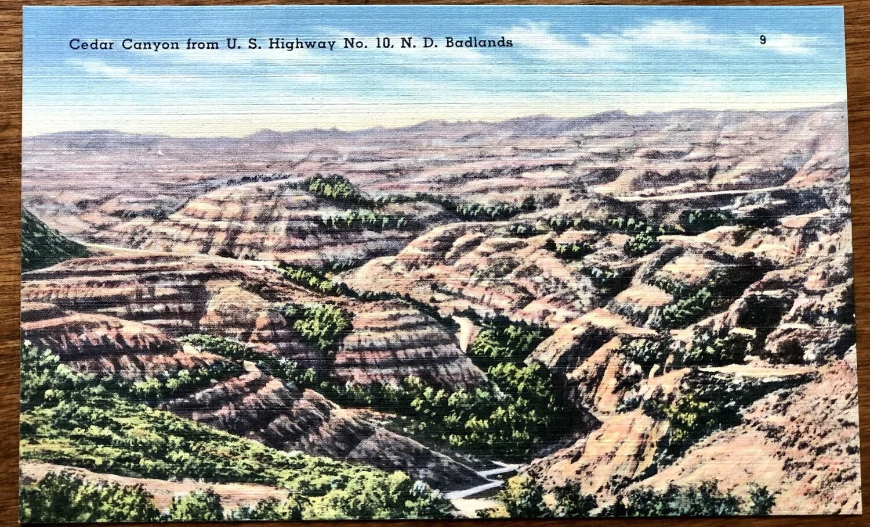 Cedar Canyon from U.S. Highway No. 10 N.D. Badlands