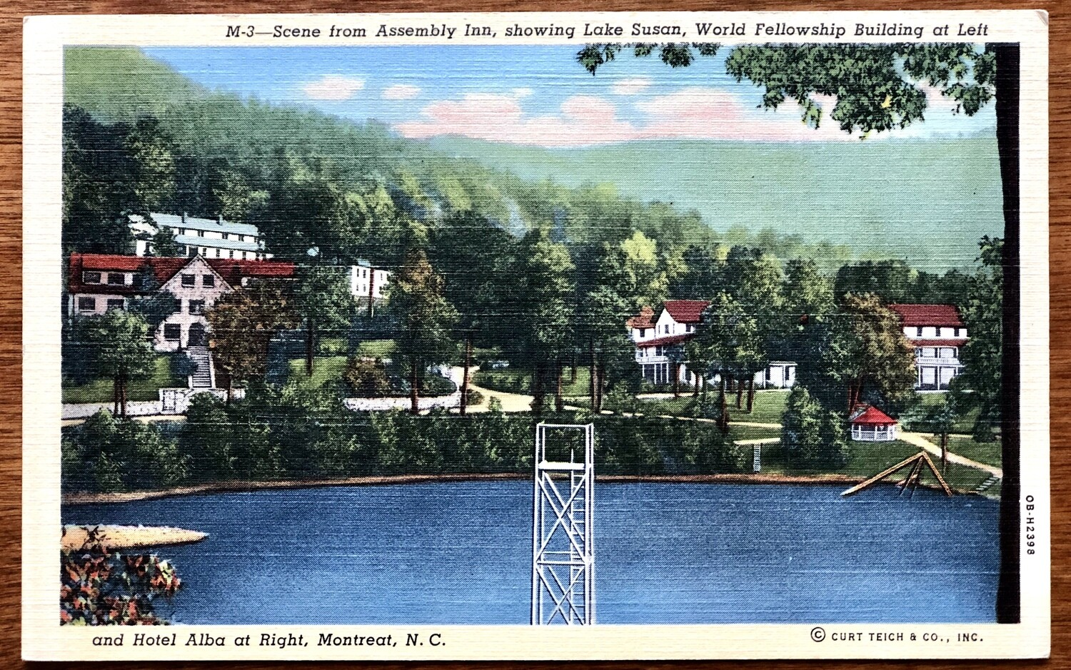 Scene from Assembly Inn Showing lake Susan World Fellowship Building