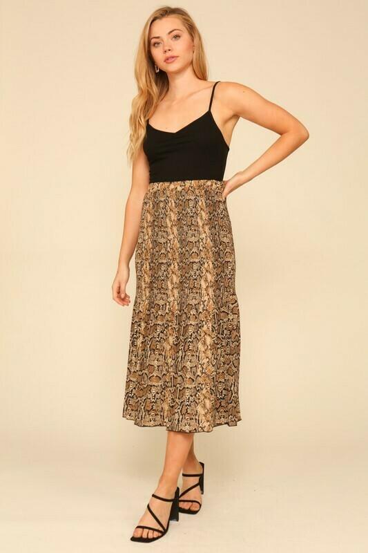 Pleated Snake Skirt