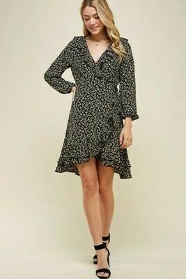 Long Sleeve Black Floral Dress