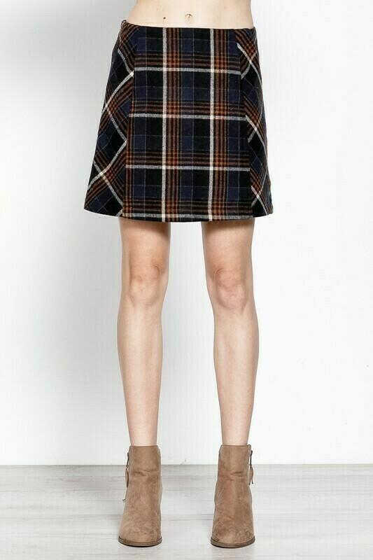 Navy Plaid Skirt