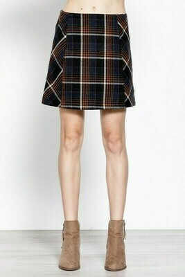 Navy Plaid Skirt