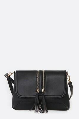 Black Zipper Crossbody