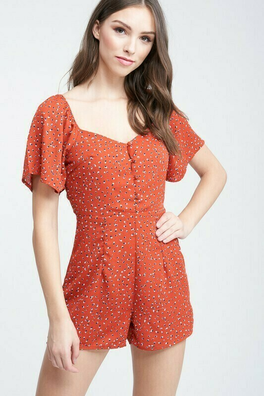 Red Printed Romper