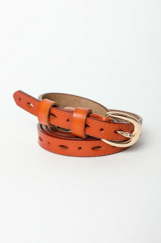 Skinny camel belt
