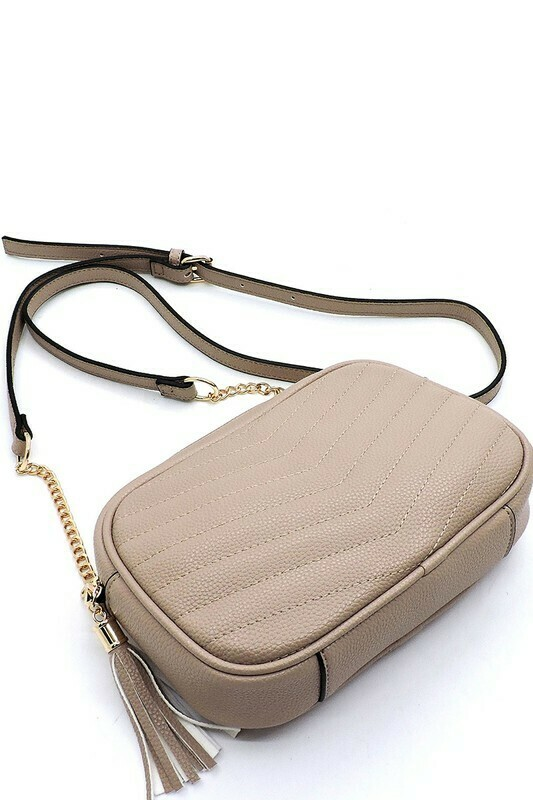 quilted crossbody- taupe