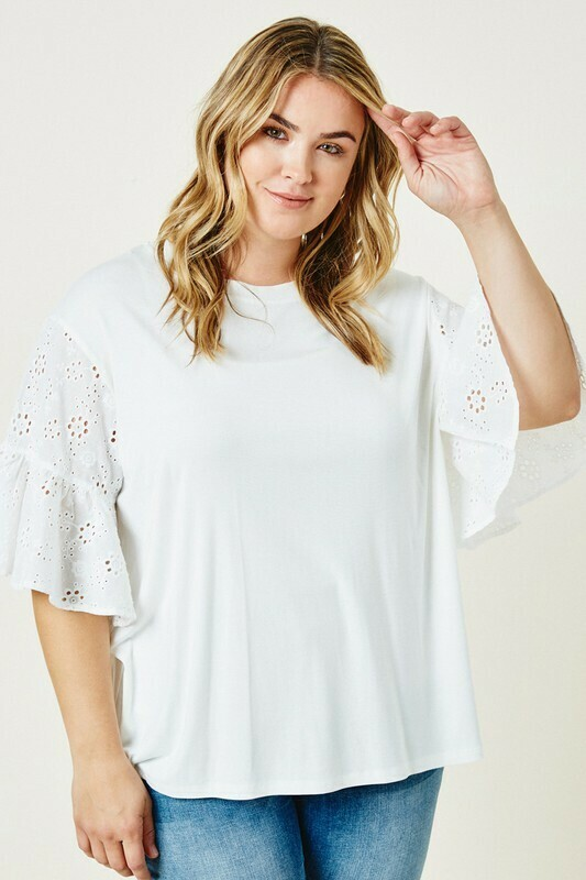 Eyelet Lace Sleeve Top