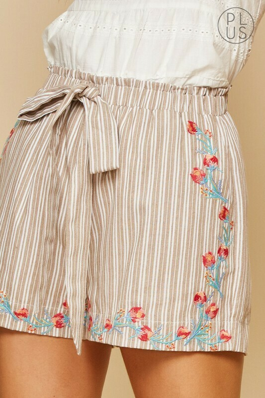 Khaki Embroidered Shorts