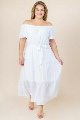 white tiered maxi