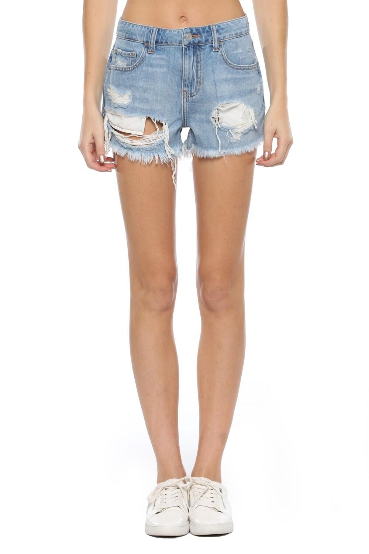 Light Wash Frayed Shorts