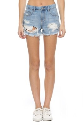 Light Wash Frayed Shorts