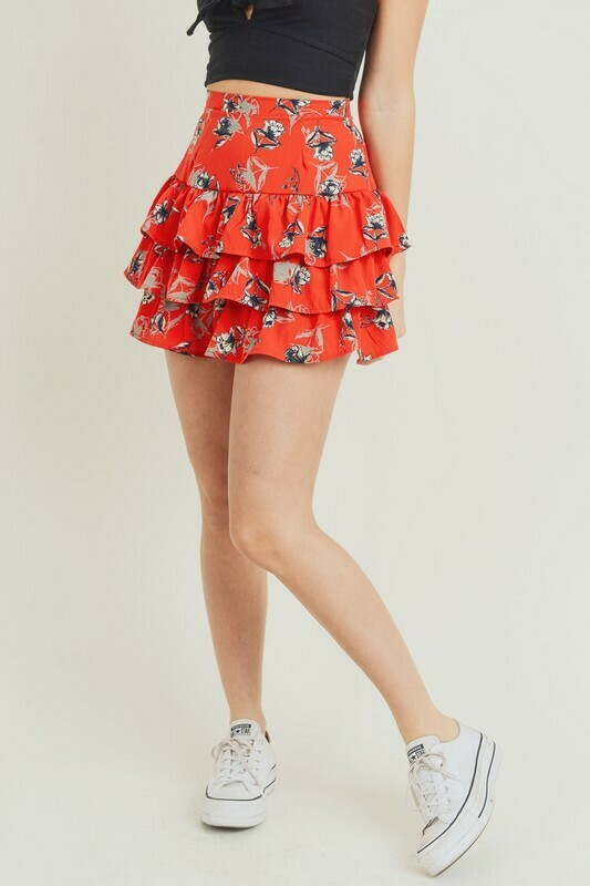 Floral Coral Skirt