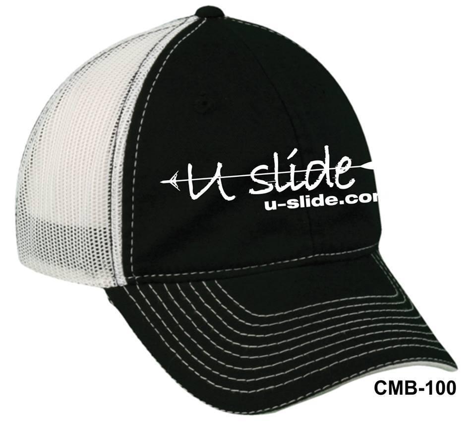 U-Slide Embroidered Black Snap Back Hat