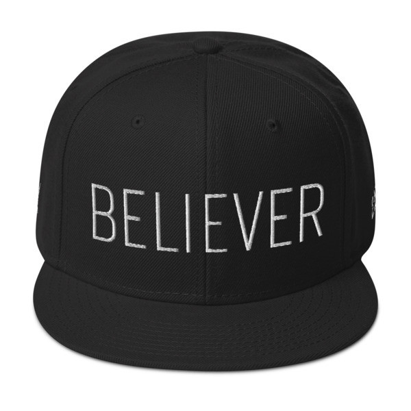 """""""Believer"""" Wool Snapback Hat - Front & Back - Right Side Embroidery Locations"""
