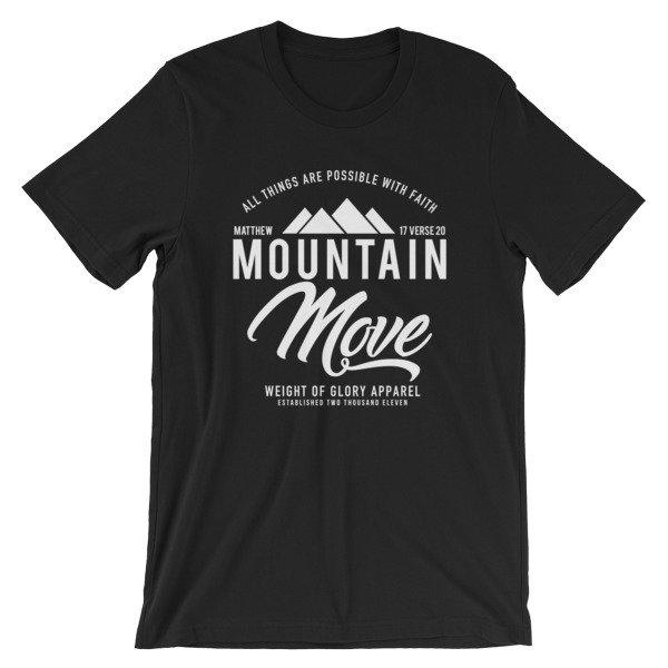 """""""Mountain Move"""" White Print - Unisex T-Shirt"""