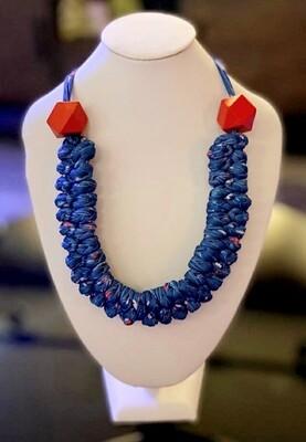 Bluish Handmade Yarn Necklace