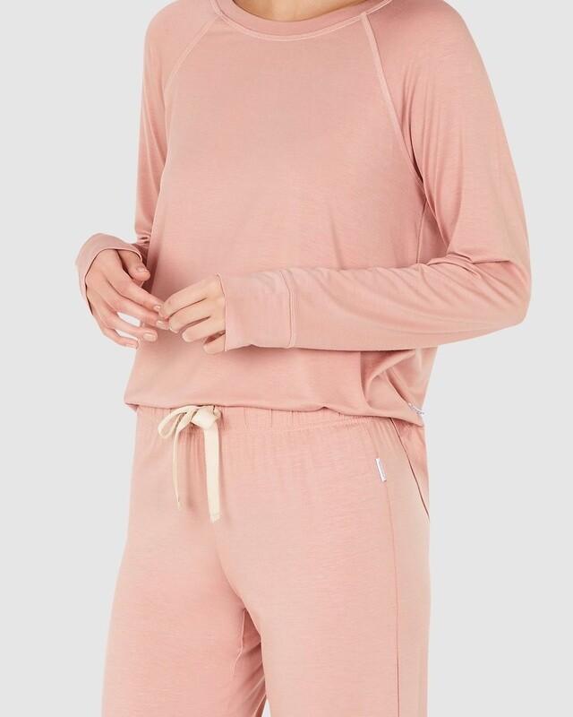 Goodnight Raglan Sleep Top - Dusty Pink