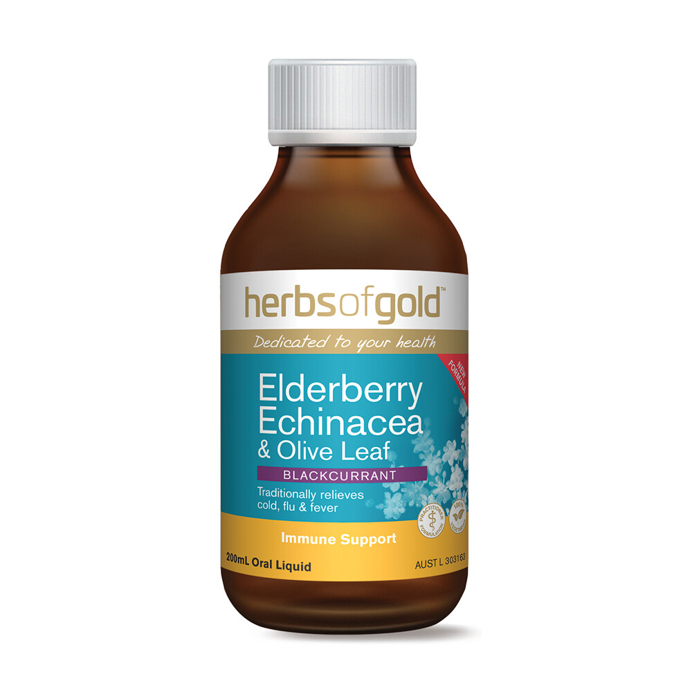 Herbs of Gold Elderberry Echinacea & Olive Leaf Blackcurrent - 200ml