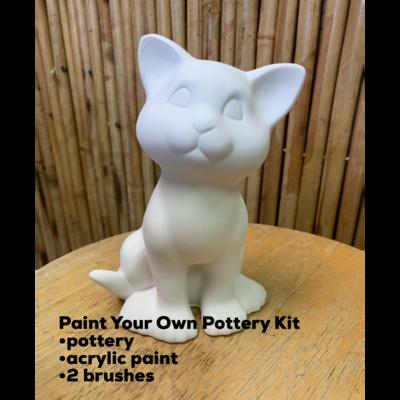 Ceramic Kitty Cat Figurine Acrylic Painting Kit