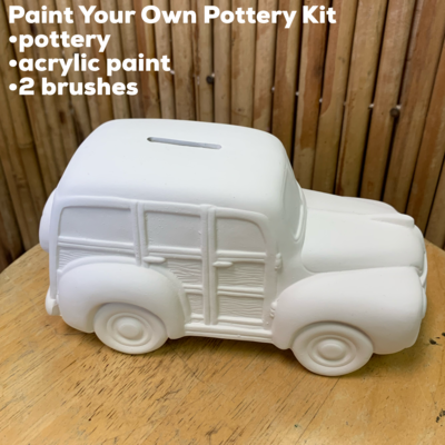 Ceramic Beach Woody Wagon Bank Acrylic Painting Kit