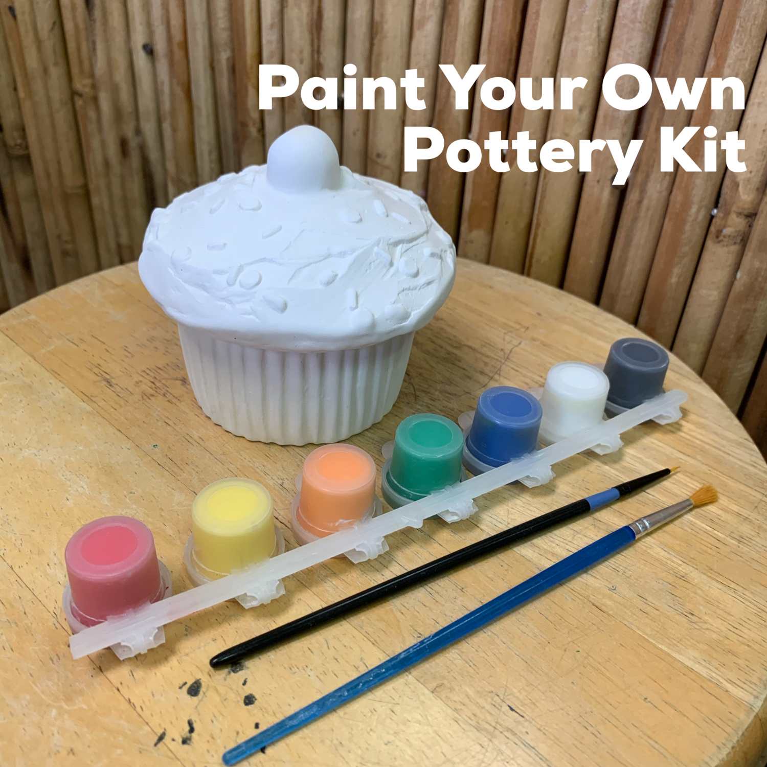 NO FIRE Paint Your Own Pottery Kit -  Ceramic Cupcake Box Acrylic Painting Kit
