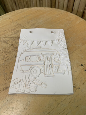 Paint Your Own Pottery - Ceramic   Camping Glamping Tile Painting Kit