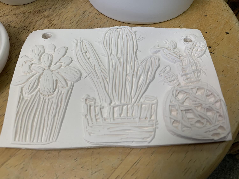 Paint Your Own Pottery - Ceramic   Cactus Succulent Tile Painting Kit