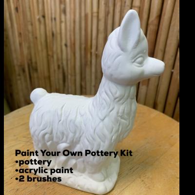Ceramic Curly Llama Figurine Acrylic Painting Kit