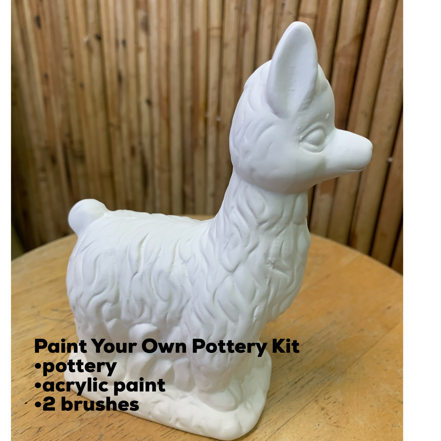 NO FIRE Paint Your Own Pottery Kit -  Ceramic Curly Llama Figurine Acrylic Painting Kit