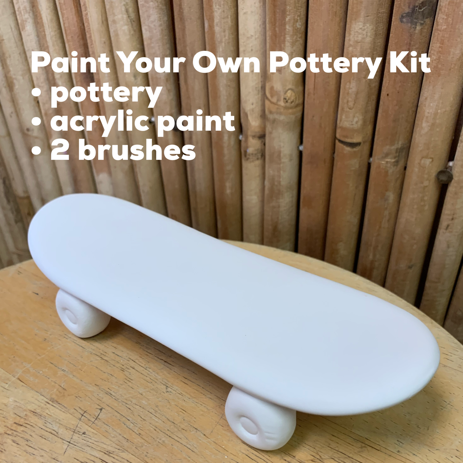 NO FIRE Paint Your Own Pottery Kit -  Ceramic Skateboard Acrylic Painting Kit
