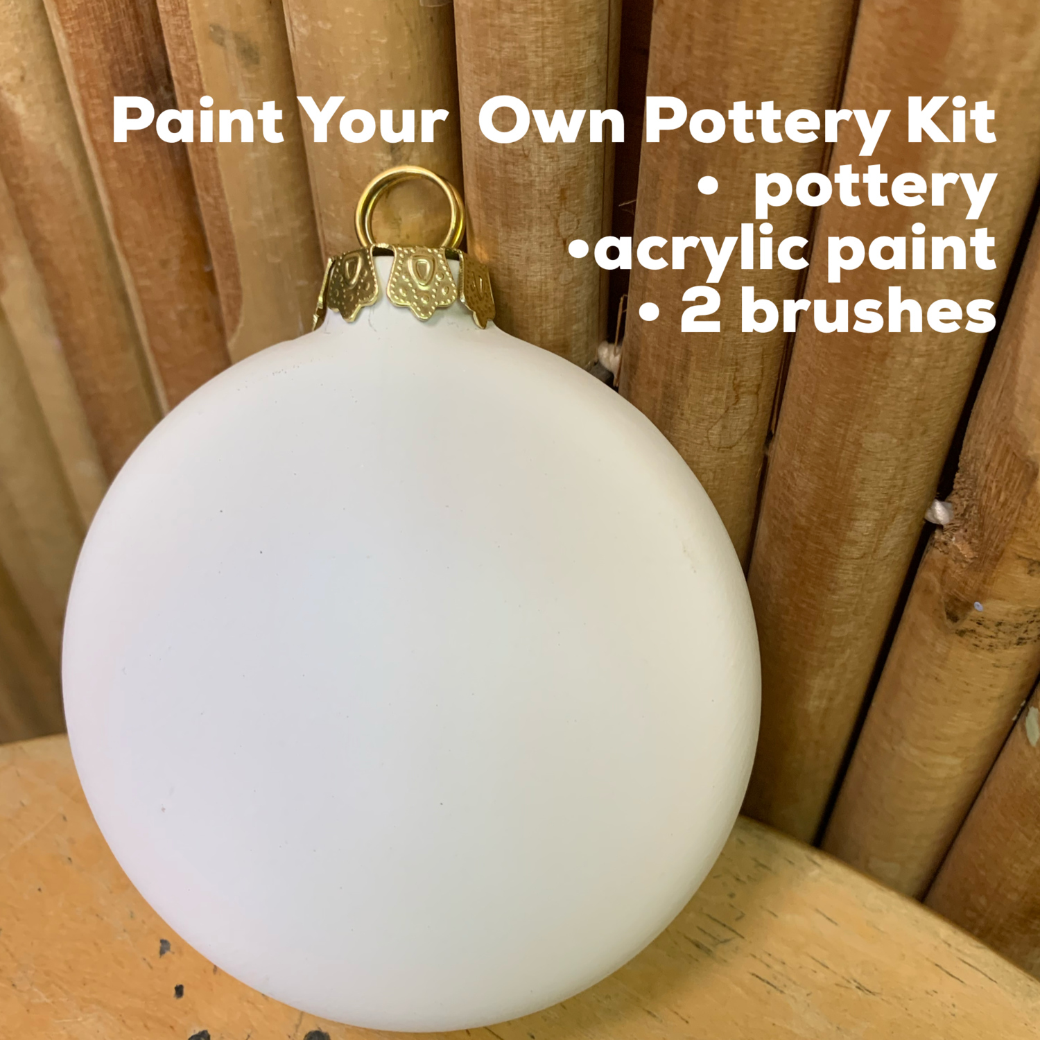 NO FIRE Paint Your Own Pottery Kit -  Ceramic Round Flat Ornament Acrylic Painting Kit