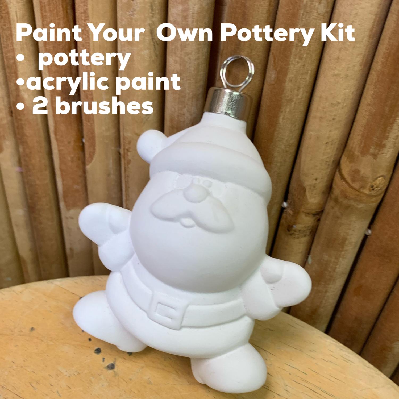 NO FIRE Paint Your Own Pottery Kit -  Ceramic Santa Ornament Acrylic Painting Kit