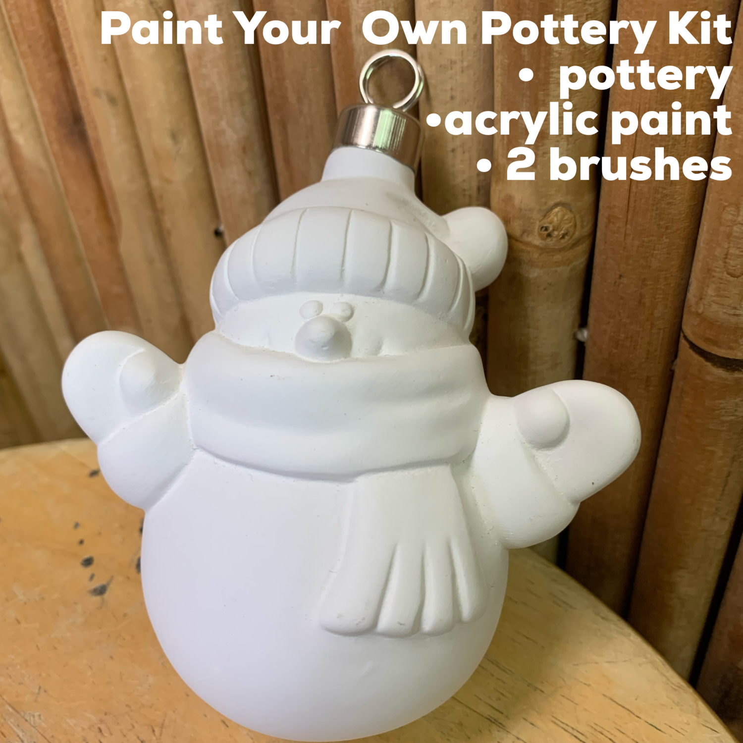 NO FIRE Paint Your Own Pottery Kit -  Ceramic Snowman Ornament Acrylic Painting Kit