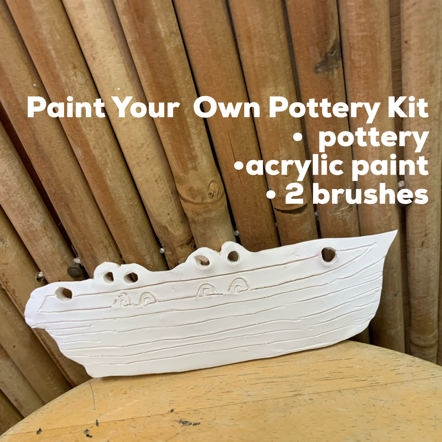 NO FIRE Paint Your Own Pottery Kit -  Ceramic Lifeguard Boat Ornament Acrylic Painting Kit