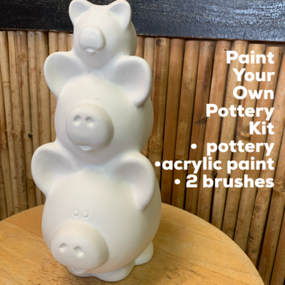 Ceramic Piggy Stack Bank Acrylic Painting Kit