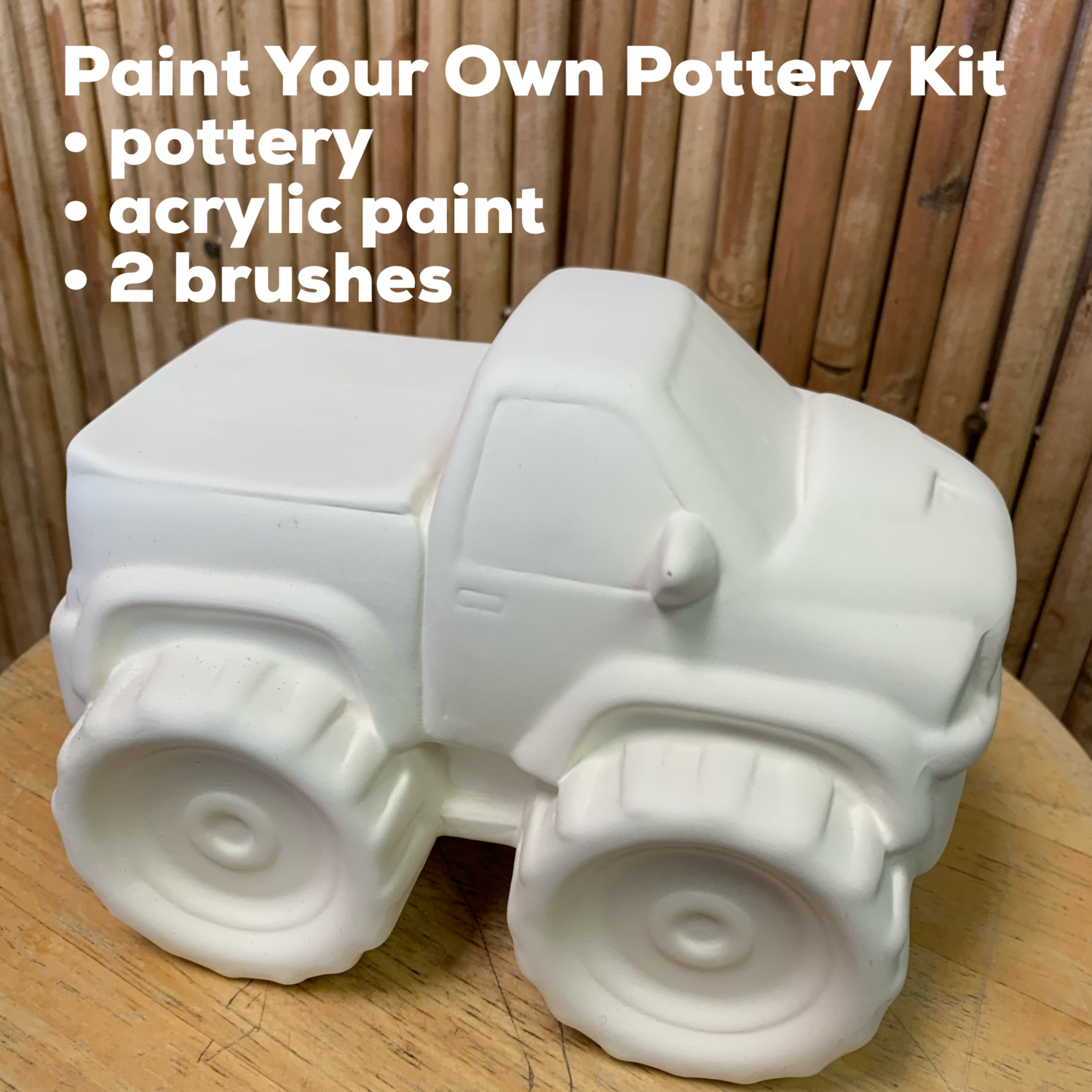 NO FIRE Paint Your Own Pottery Kit -  Ceramic Monster Truck Bank Acrylic Painting Kit