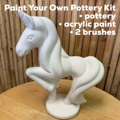 Ceramic Prancing Unicorn Figurine Acrylic Painting Kit
