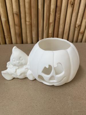 BRING BACK TO FIRE Ceramic Ghost Pumpkin Votive Holder Painting Kit