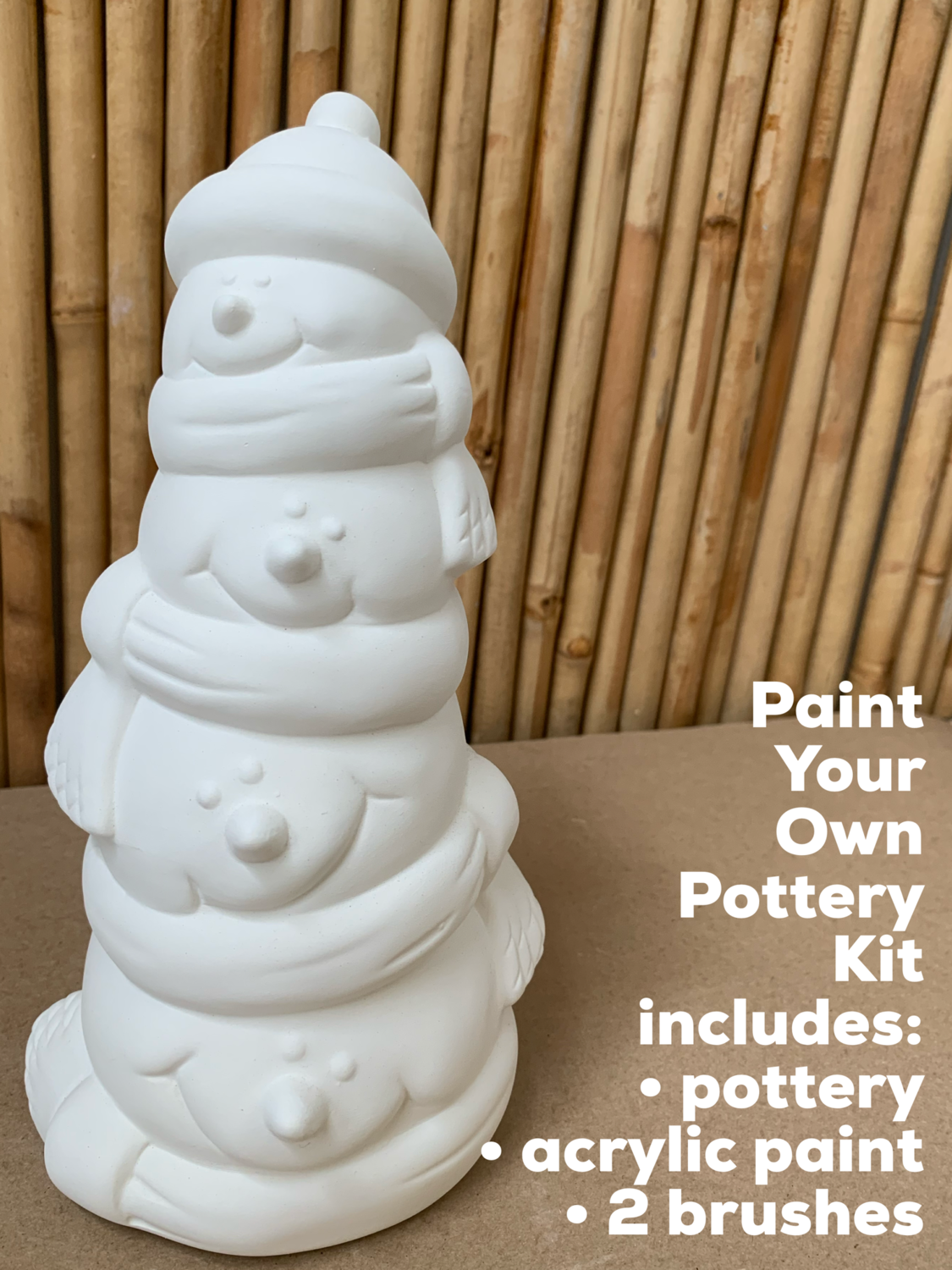 NO FIRE Paint Your Own Pottery Kit -  Ceramic Snowman Stack Bank Acrylic Painting Kit
