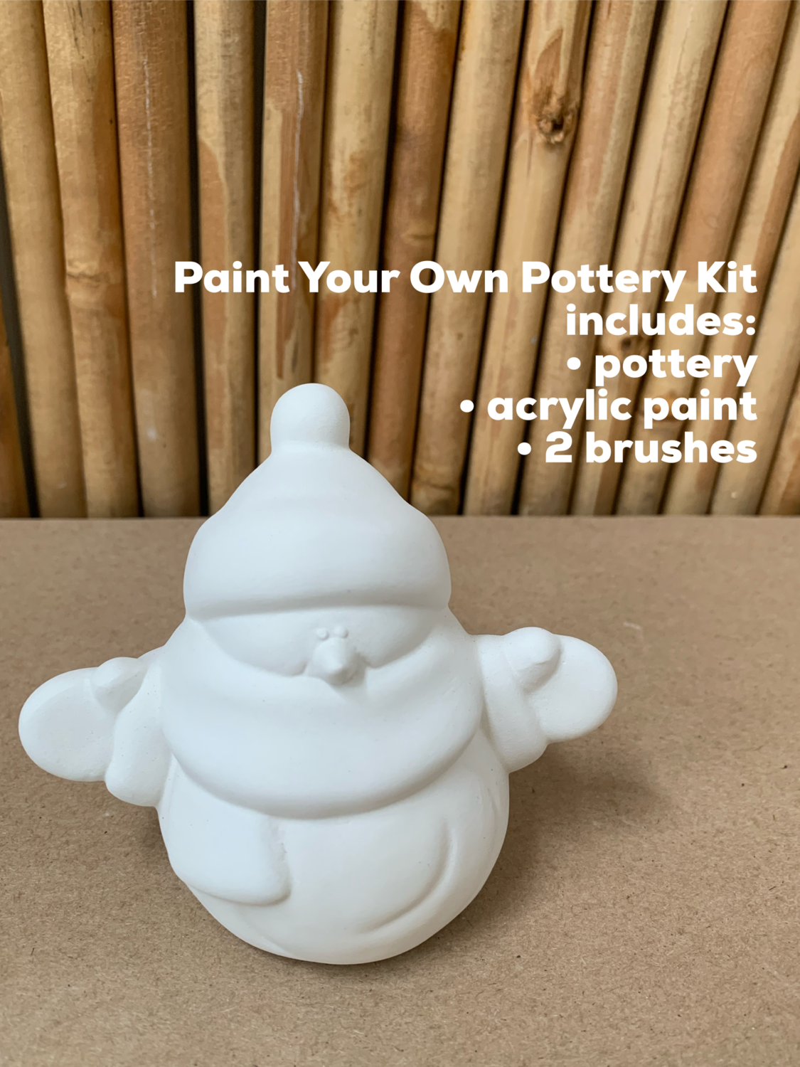 NO FIRE Paint Your Own Pottery Kit -  Ceramic Small Snowman Figurine Acrylic Painting Kit