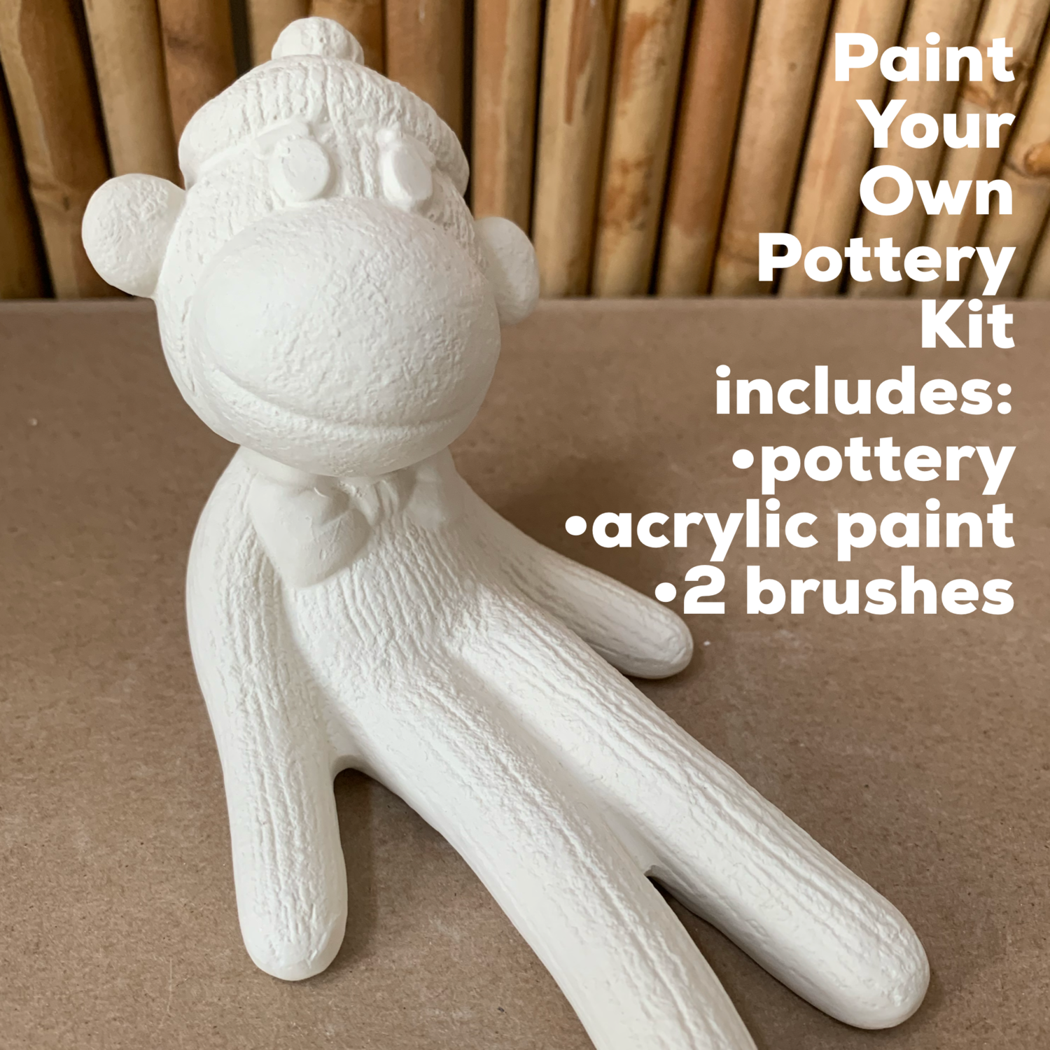 NO FIRE Paint Your Own Pottery Kit -  Ceramic Sock Monkey Acrylic Painting Kit
