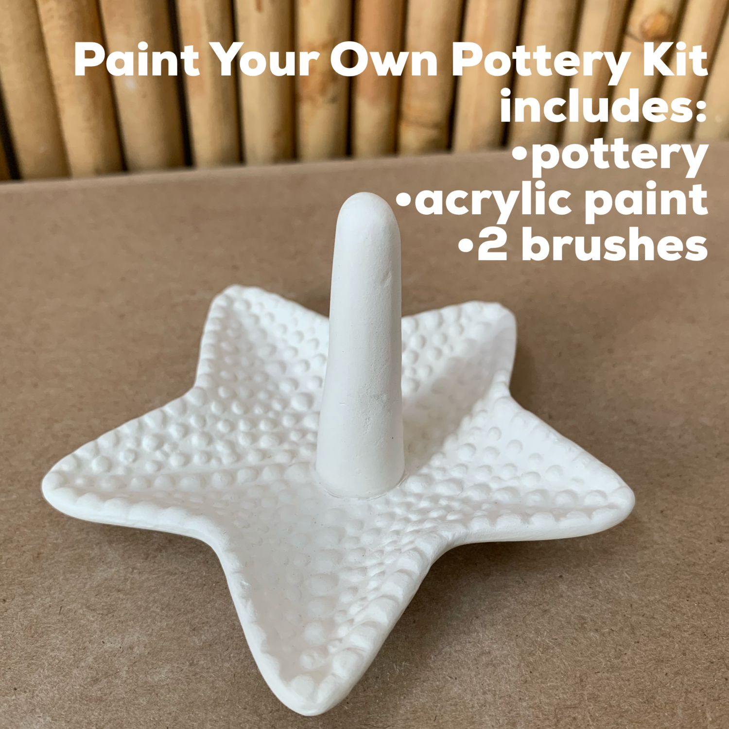 NO FIRE Paint Your Own Pottery Kit -  Ceramic Starfish Ring Holder Acrylic Painting Kit