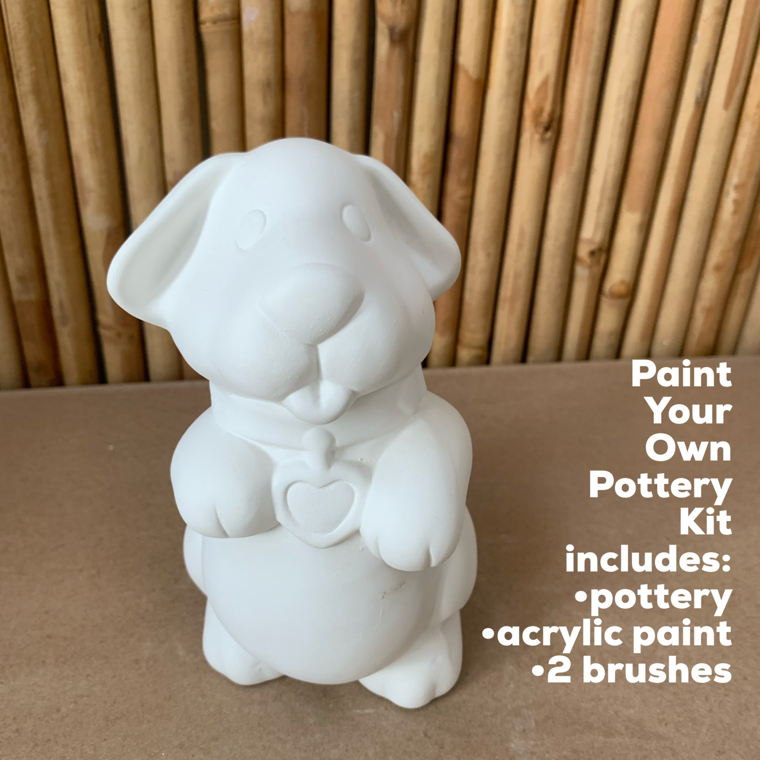 NO FIRE Paint Your Own Pottery Kit -  Ceramic Puppy Dog Bank Acrylic Painting Kit
