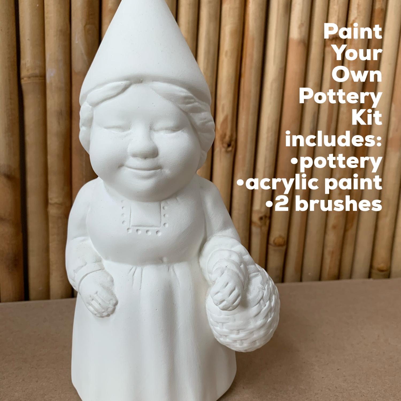 Ceramic Ms. Gnome Figurine Acrylic Painting Kit